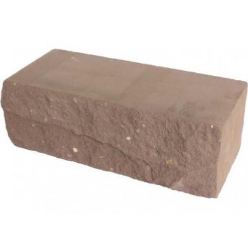 Кирпич силикатный утолщенный рустированный коричневый 1,4НФ Глубокинский